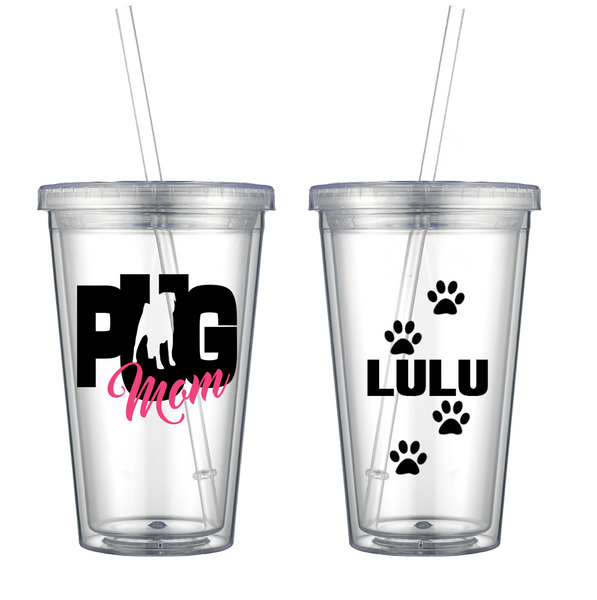 Pug Mom - Personalized Tumbler