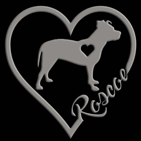 Personalized Pit Bull Uncropped Ears - Heart Decal