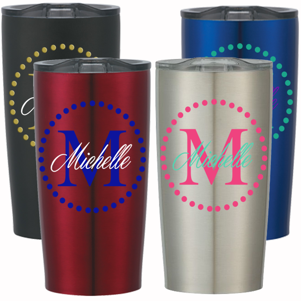 Dot Circle w/ Initial and Name Decal on Stainless Steel Cup