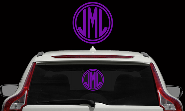Circle Monogram with Border Decals - Choose Your Size
