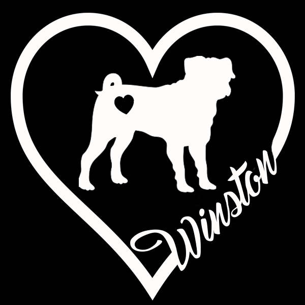 Personalized Pug Heart Decal