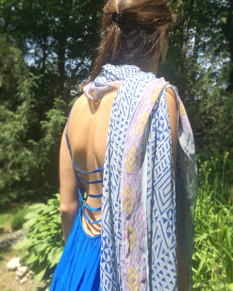 handmade block-printed eco-friendly scarf or scarves or fabric or textiles