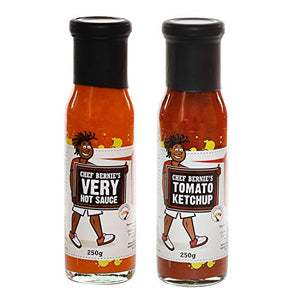 Very Hot Chilli Sauce & Tomato Ketchup Twin Pack - 100% Natural, Gluten Free and Dairy Free 2 x 250g