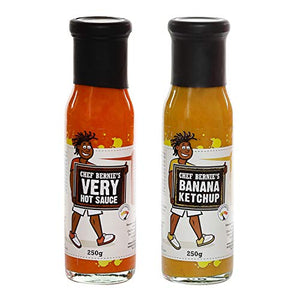 Very Hot Chilli Sauce & Banana Ketchup Twin Pack - 100% Natural, Gluten Free and Dairy Free 2 x 250g - Chef Bernie's