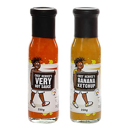 Very Hot Chilli Sauce & Banana Ketchup Twin Pack - 100% Natural, Gluten Free and Dairy Free 2 x 250g