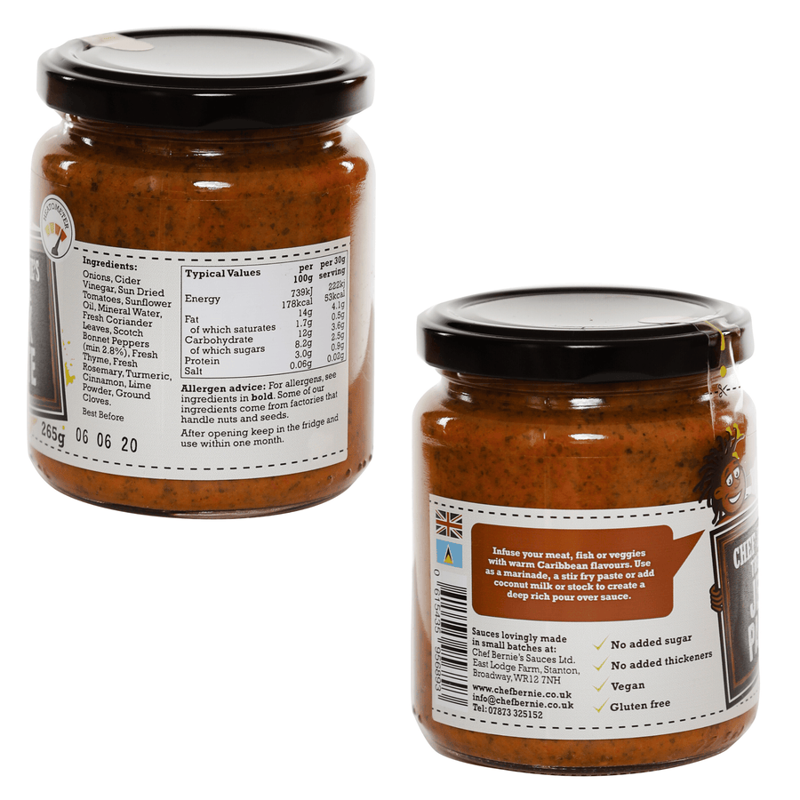 Hot and Spicy Jerk Paste - Vegan - Gluten Free & No Added Sugar 1x 265g Jar - Chef Bernie's