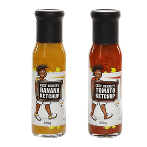 Banana Ketchup & Tomato Ketchup Twin Pack - 100% Natural, Gluten Free and Dairy Free 2 x 250g - Chef Bernie's