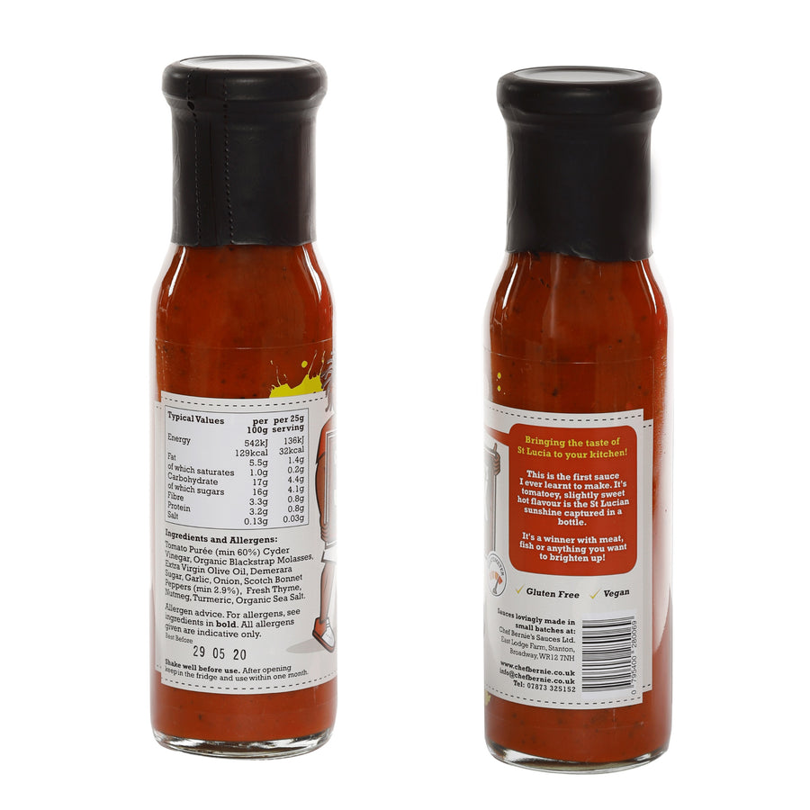 Tomato Ketchup - Vegan - 100% Natural - Gluten Free & Dairy Free - 1 X 250g Bottle - Chef Bernie's