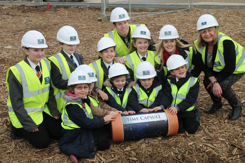 Pupils from Heyford Park Free School with Commemoration time capsule - Time Capsules UK