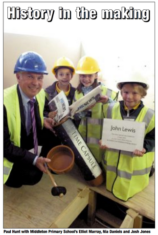 Middleton Primary School pupils with managing director of John Lewis CMK