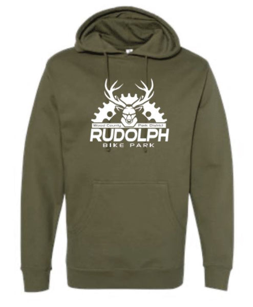 WCPD Rudolph Bike Park Adult Unisex Midweight Fleece Hoodie - Army Green