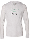 LJW - Plants Over Pills Womens White Lightweight Hoodie