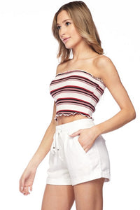 Lettuce Edge Stripe Crop Top