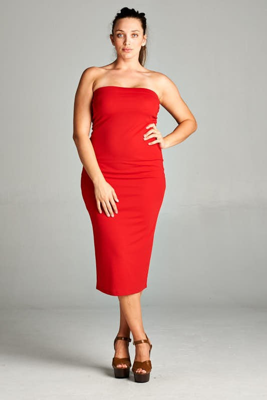 Plus Size Strapless Dress