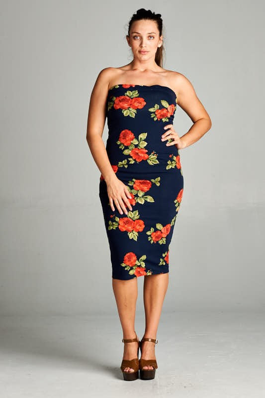 Plus Size Floral Strapless Dress