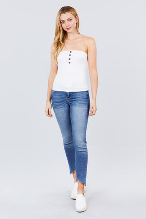Button Ribbed Tube Top