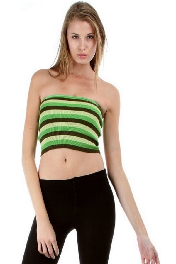 Knit Stripes Bandeau - Lime