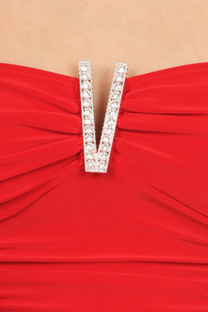 Red Rhinestone Ruched