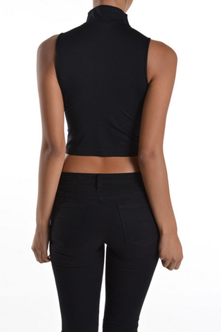 Mocked Neck Crop Top