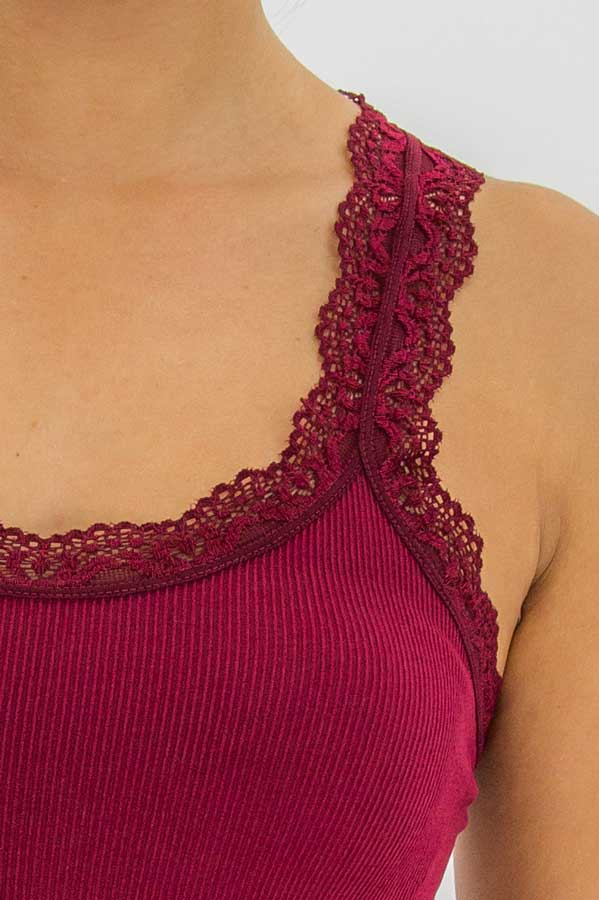 Lace Trim Tank - Clearance