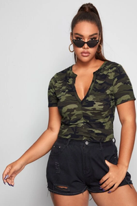 Button Camo Top