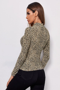 Mock Neck Leopard Top