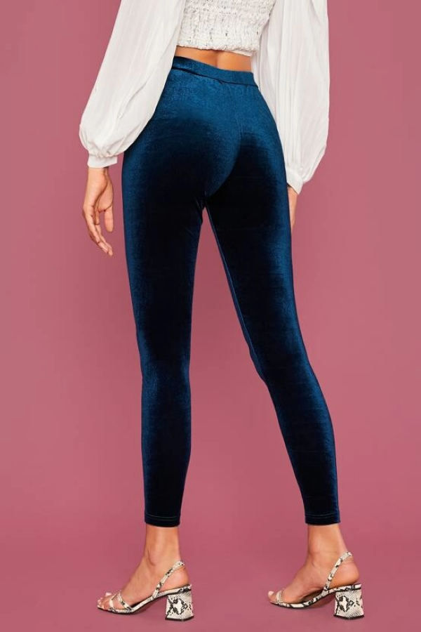 Midnight Blue Velvet Leggings