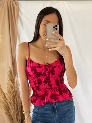 Raspberry Smocked Top
