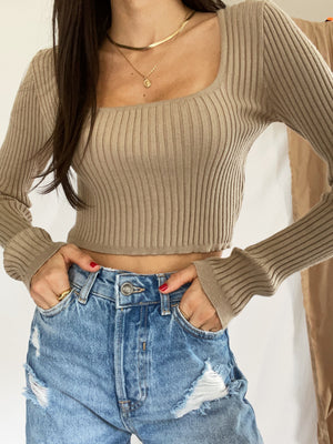 Taupe LS Ribbed Top