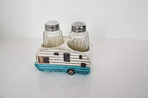 Glass Salt and Pepper Shakers Set - Camper Salt and Pepper Shakers with Holder for Kitchen and Dining - Simple Cute Blue Salt and Pepper Shakers with Lids Set - Rustic Salt and Pepper Caddy