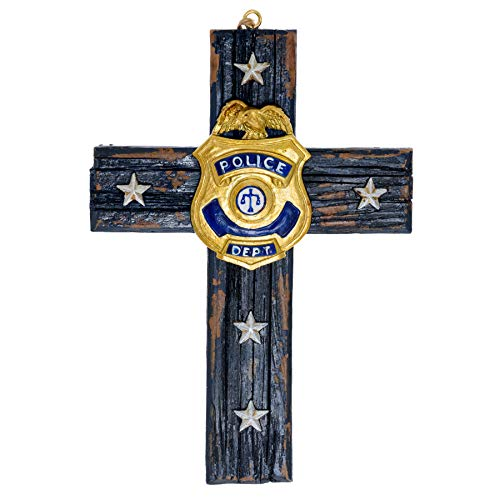 Police Wall Cross Home Decor - Roman Catholic Crucifix Wall Cross Police Department Badge - Police Man Ornament Cross Decor Law Enforcement Plaque - Police Officer Retirement Gifts 4