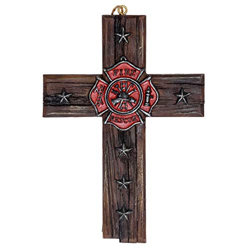 Fireman Emblem Star Wall Cross - Firefighter Cross Decorations For Home Roman Catholic Crucifix Wall Cross - Firefighter Office Wall Hanging Cross Decor Firefighter Retirement Gifts Memorabilia 4
