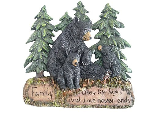 Rustic Home Decor Kitchen Signs - Black Bear Decor Family Wall Plaque Made From Polyresin - Black Bear Wall Decorations Family Signs for Home Decor (Family Where Life Begins and Love Never Ends 9.5