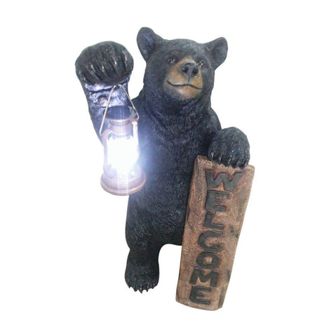 Bear LED Camping Lantern Lights Decorative - Metal Indoor Outdoor Hanging Lantern with Square Holder by Pine Ridge | 3AAA Rechargeable Battery Operated | Flameless Home Decor | Halloween and Christmas 34