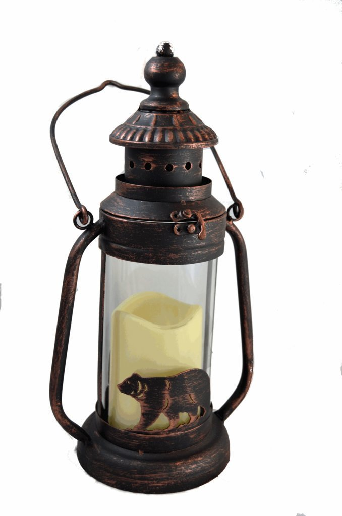 Bear LED Candle Lantern Lights Decorative - Metal Round Holder Tabletop & Hanging Lantern for Indoor Outdoor by Pine Ridge | 3AAA Rechargeable Battery Operated | Flameless Decor Halloween & Christmas