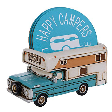 Happy Camper Car Coaster Set - Truck RV Coasters for Drinks Rustic Home Decor Living Room - Table Coasters Set Dining Room Decor and Accessories - Home Bar Decor Camp Coasters