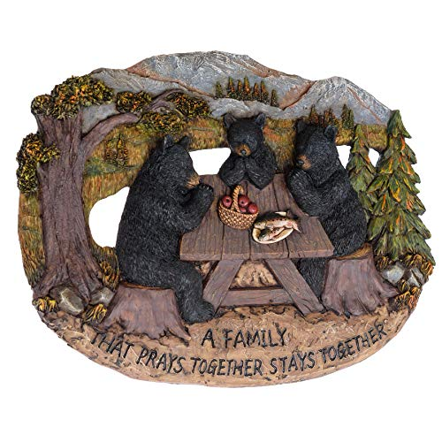 Black Bear A Family That Prays Together Stays Together Lodge Wall Decor for The Home - Cute Black Bear Decor Wall Plaque Country Style Decorations - Home Decor Bears Den Sign Black Bear Framed Art