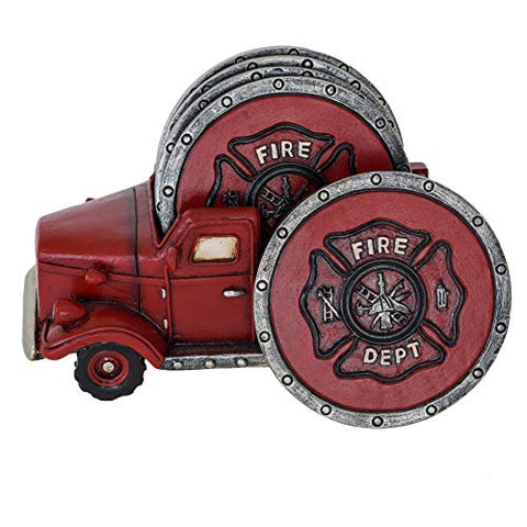 Fire Truck Coaster Set of 5 - Firefighter Kitchen Table Coasters Set Rustic Home Decor Living Room - Firefighter Coaster Sets with Holder Dining Room Decor and Accessories