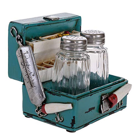 Glass Salt and Pepper Shakers - Fishing Box Salt and Pepper with Holder for Kitchen and Dining - Simple Salt and Pepper Shakers with Lids - Rustic Salt and Pepper Caddy Spices and Seasonings Set