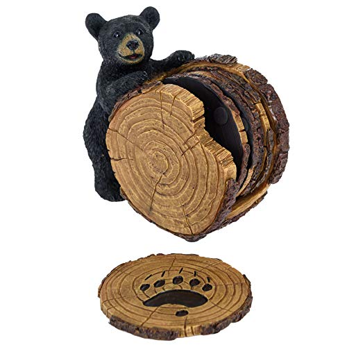 Black Bear Stump Coaster Set - Bear Cabin Decor Coasters for Drinks Set of 5 - Bear Gifts for Women Coasters and Holder - Birthday Gifts Kitchen Home Decor for Dining Room