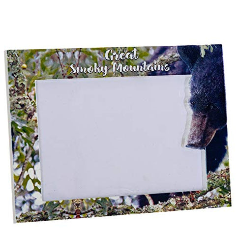 Great Smoky Mountains Picture Frame - Black Bear Picture Frame Home Decor Photo - Family Picture Frame With Easel Stand Modern Rustic Desk Picture Frame for Dad, Mom, Sister, Friends and Couples