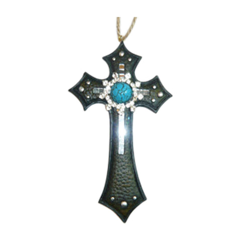 Jewels Decorative Wall Crosses Hanging - Religious Wall Art Cross Made From Polyresin - Wedding Crosses to Hang on Wall - Decorative Family Crosses Wall Decor (Turquoise, 4