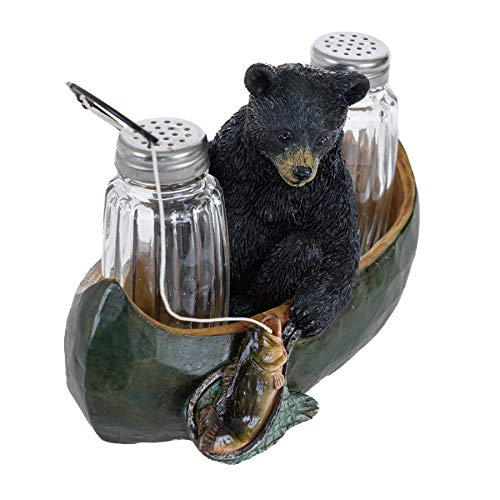 Glass Salt and Pepper Shakers - Fishing Canoe Black Bear Salt and Pepper with Holder for Kitchen - Simple Salt and Pepper Shakers with Lids - Rustic Salt and Pepper Caddy Spices and Seasonings Set