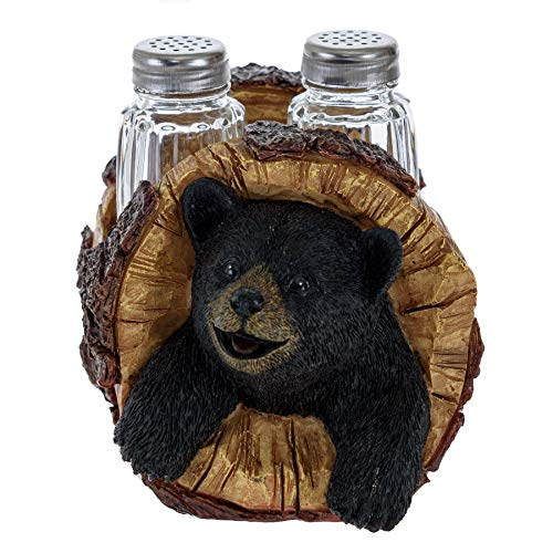 Black Bear Salt and Pepper Shakers - Blackbear in a Log Spices and Seasonings Set Table Decor - Glass Salt and Pepper Shakers Rustic Wilderness Home Decor - Salt and Pepper Table Set