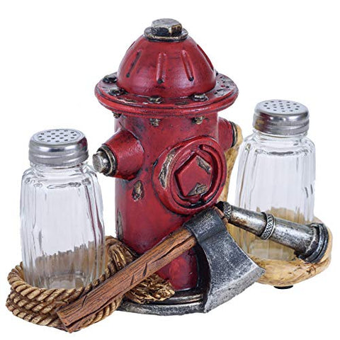 Glass Salt and Pepper Shakers - Fire Hydrant Hose Salt and Pepper with Holder for Kitchen - Simple Salt and Pepper Shakers with Lids - Rustic Salt and Pepper Caddy Spices and Seasonings Set