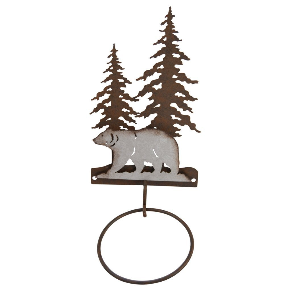 Pine Ridge Hand Towel Holder Single 3-D Bear Scene Metal Home Decor - Western Decorative Wall Mount Holder For Kitchen, Toilet and Bathroom