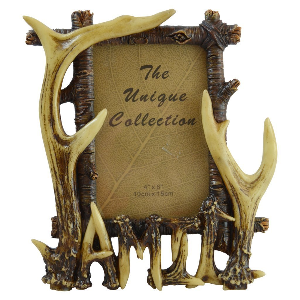 Rustic Deer Antler Free Standing Photo Frame Inscribed \
