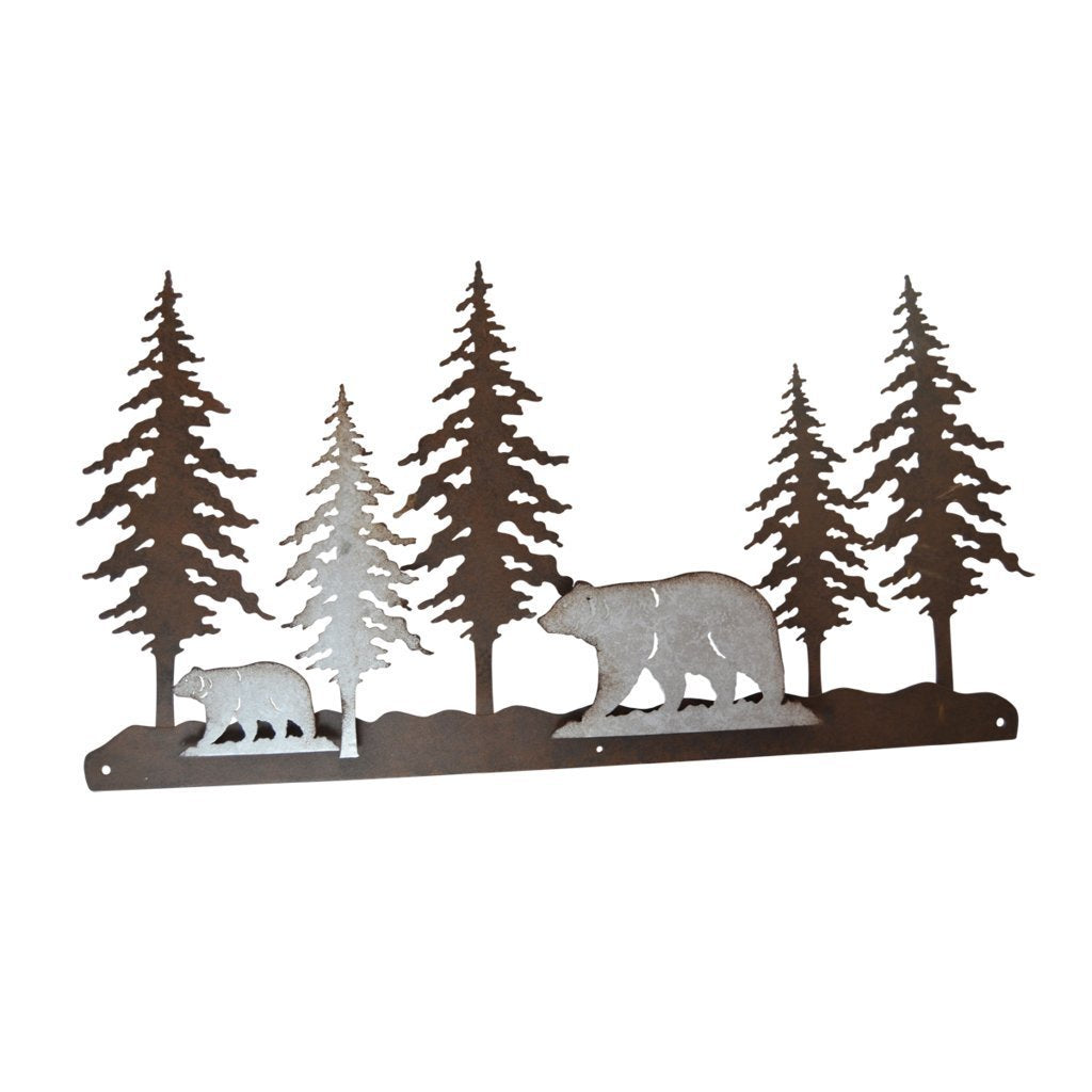 Pine Ridge 3-D Bear Scene Metal Wall Art - Western Decorative Heavy Duty Wall Hanging Display For Home, Kitchen, Toilet and Bathroom