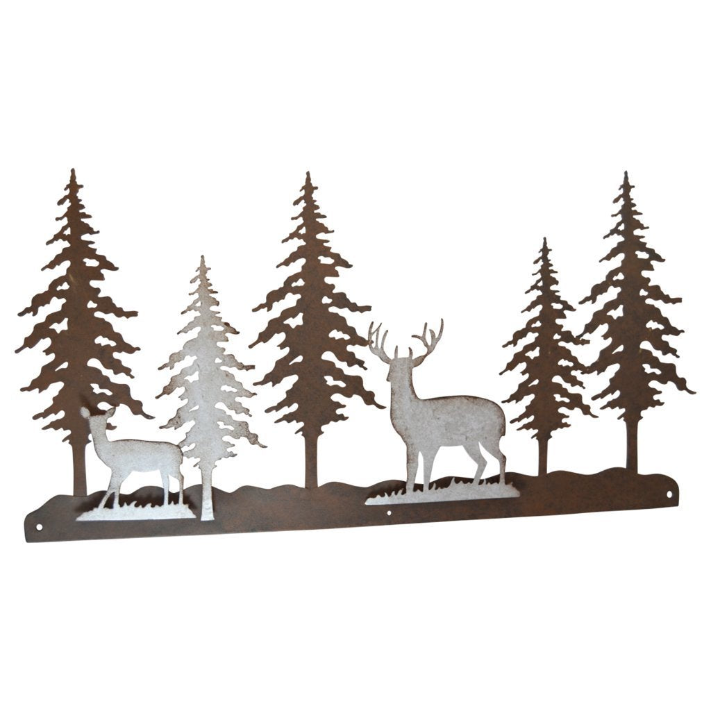 Pine Ridge Metal Wall Art 3-D Deer Scene Home Decor - Western Decorative Heavy Duty Wall Hanging Display For Home, Kitchen, Toilet and Bathroom