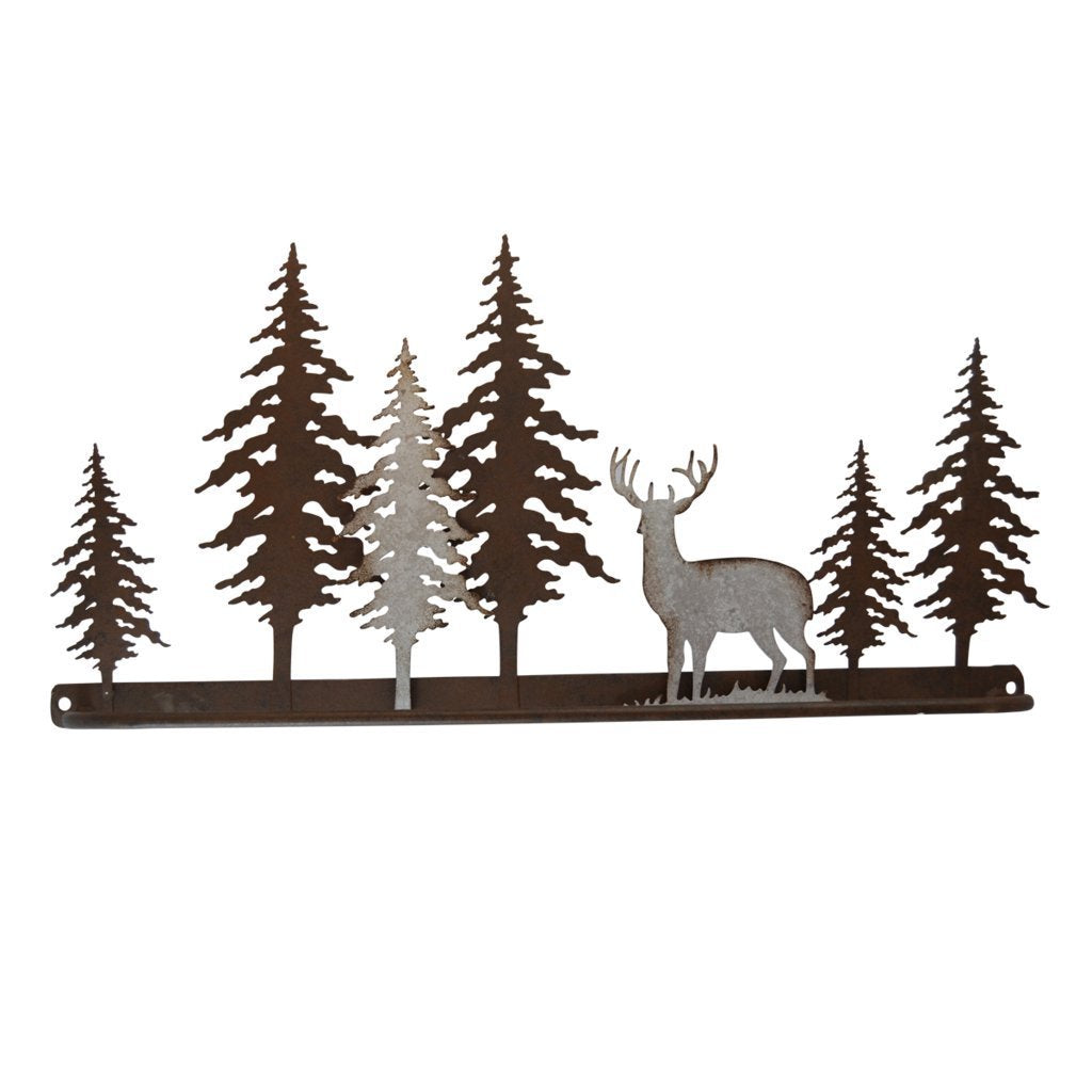 Pine Ridge Metal Bar Towel Holder 3-D Deer Scene Home Art Decor - Western Decorative Wall Mount Holder For Kitchen, Toilet and Bathroom